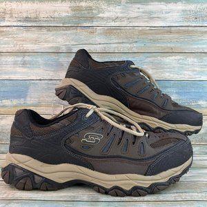 Skeckers Brown Leather Mesh Sneaker Athletic Shoe